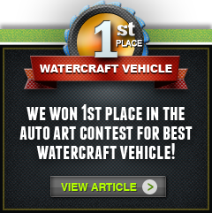 Chameleons Wraps won 1st place in the Auto Art Contest for Best Watercraft Vehicle